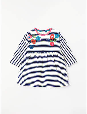 John Lewis & Partners Baby Stripe Floral Embroidery Dress, Blue