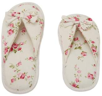 Deluxe Comfort Printed Cotton Women Memory Foam Slippers, Butterfly Tie, Floral Peonies, 9-10