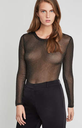 BCBGMAXAZRIA Metallic Sheer Stripe Top