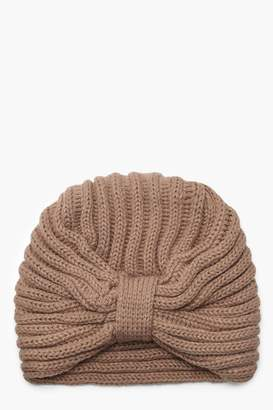 boohoo Twisted Knot Cable Knit Beanie