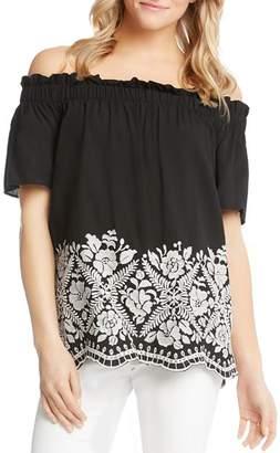 Karen Kane Floral Embroidered Off-the-Shoulder Top