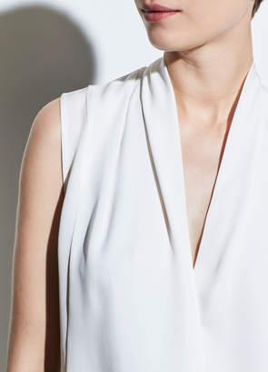 Silk Sleeveless Drape Neck Blouse