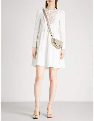 See by Chloe Floral lace-embroidered crepe mini dress