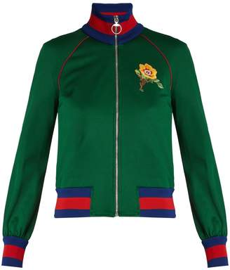 Gucci Flower and tiger-appliqué jersey track top