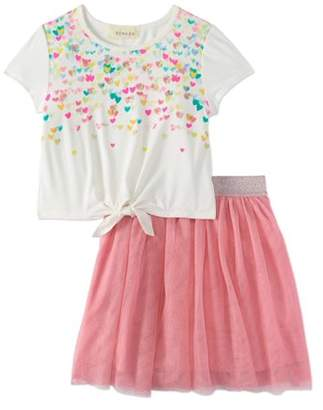 Sequin Hearts Btween Girls' Ombre Tee And Tutu Skirt 2-Piece Outfit Set