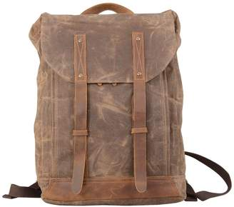 EAZO - Leather Straps Waxed Canvas Backpack Brown