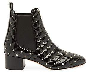 Valentino Women's Rockstud Spike Patent Leather Chelsea Boots