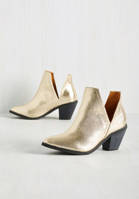 NYLA Shoes Inc. Wishing You the Very Zest Bootie in Gold $69.99 thestylecure.com