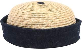 Handmade Straw & Cotton Denim Sailor Hat
