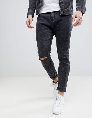 Bershka Super Skinny Jeans With Ripped Knees In Black Wash