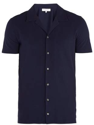 Orlebar Brown Travis Cotton Pique Polo Shirt - Mens - Navy