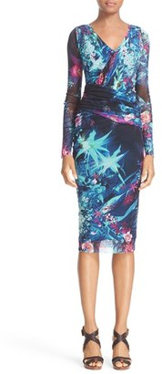 Women's Fuzzi Ruched Print Tulle Sheath Dress $580 thestylecure.com