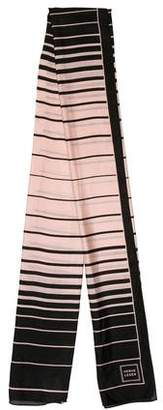 Herve Leger Striped Silk Scarf