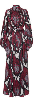 Carolina Herrera Puff Long Sleeve Crepe Shirt Gown