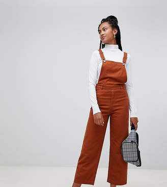 Monki denim wide leg dungarees with organic cotton in brown