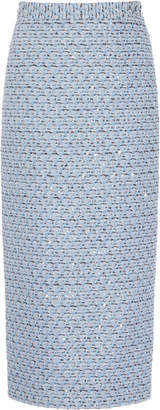 Alessandra Rich Sequined High-Rise Tweed Skirt Size: 38