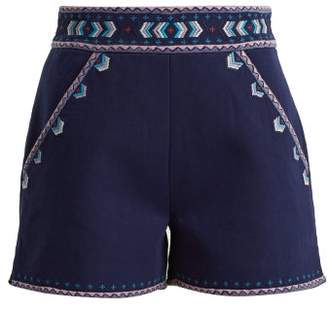 Talitha Collection Embroidered High Rise Cotton Twill Shorts - Womens - Dark Blue