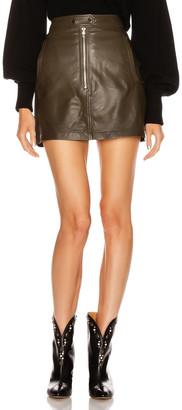 Marissa Webb Alexander Mini Leather Skirt in Olive   FWRD