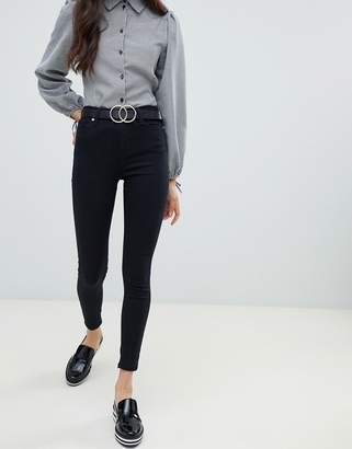 Miss Selfridge high waist skinny jeans in black