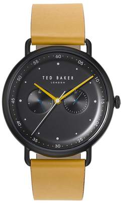 Ted Baker Men's George Leather Strap Watch, 40mm
