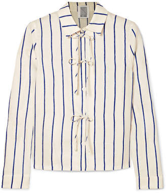 Rosie Assoulin Bow-detailed Striped Cotton-blend Jacquard Shirt - White