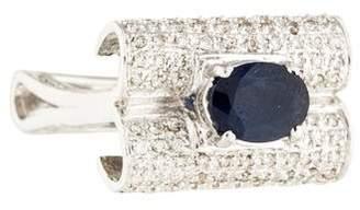 Ring 14K Sapphire & Diamond Rectangle Band