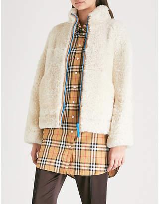 Burberry Contrast-zip shearling jacket