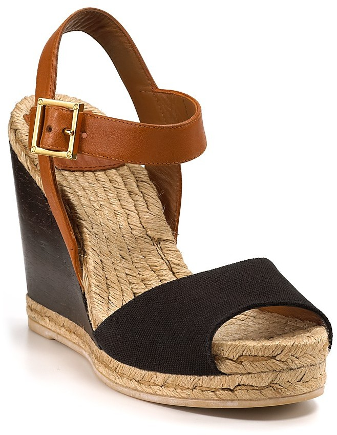 Tory Burch Wood Wedge Espadrille Sandals