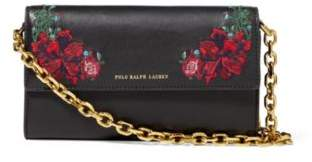 Ralph Lauren Floral Leather Chain Wallet Black One Size