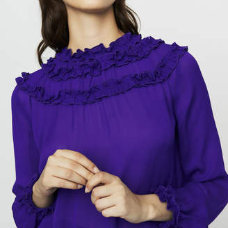 Maje Crepe top with ruffles