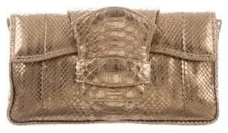 Nada Sawaya Metallic Python Clutch Bag