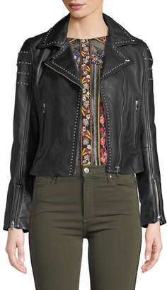 Moto LaMarque Loni Studded Leather Cropped Jacket