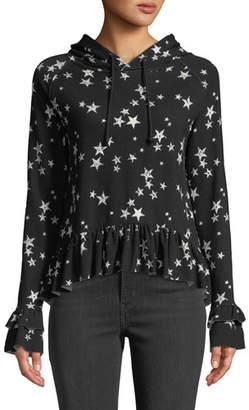 Generation Love Easton Star-Print Ruffle Hooded Top