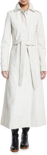 Gabriela Hearst Embossed Crocodile Leather Self-Belt Trench Coat