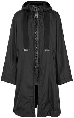 Miharayasuhiro Black Hooded Printed Shell Coat