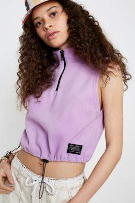 Urban Outfitters Antipill Quarter-Zip Sleeveless Track Top - purple S at