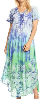 Sakkas 18604 - Sofia Women's Flowy Summer Maxi Beach Dress Tie-dye w/Batik & Short Sleeves - OS