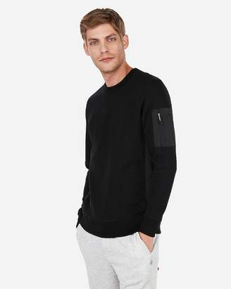 Express Exp Nyc Soft Double Knit Woven Pocket Sweatshirt