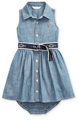 Ralph Lauren Girls' Belted Dress & Bloomers Set - Baby