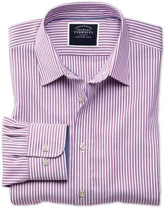 Charles Tyrwhitt Slim Fit Non-Iron Purple Bengal Stripe Oxford Cotton Casual Shirt Single Cuff Size Large