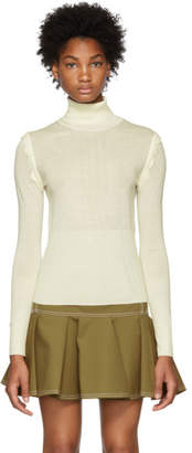 Chloé White Scalloped Wool Turtleneck