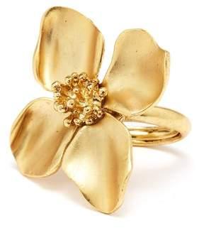 Oscar de la Renta Gold Flower Ring