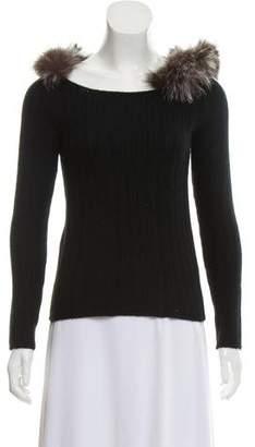Prada Fox-Trimmed Cashmere Sweater