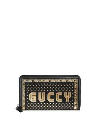 6cbc58398181 Gucci Guccy Script Zip-Around Wallet