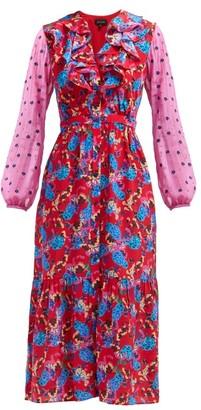 Saloni Ginny Hydrangea Print Silk Crepe Midi Dress - Womens - Red Multi