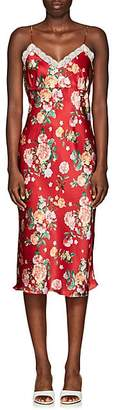 Barneys New York Women's Lace-Trimmed Floral Satin Slip Dress - Red