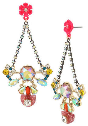 Betsey Johnson Granny Chic Crystal Chandelier Earrings