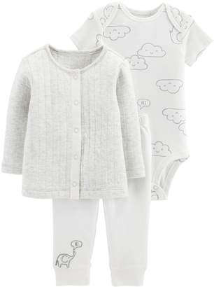 cc440c42796 Carter's Baby Cloud Bodysuit, Quilted cardigan & Embroidered Pants Set