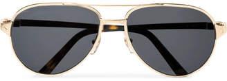 Cartier Eyewear Santos De Aviator-Style Leather-Trimmed Gold-Tone Sunglasses
