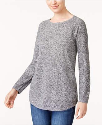 Karen Scott Petite Cotton Curved-Hem Sweater